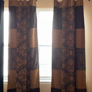 Beautiful Black and Gold Design Curtains- 2 Panels